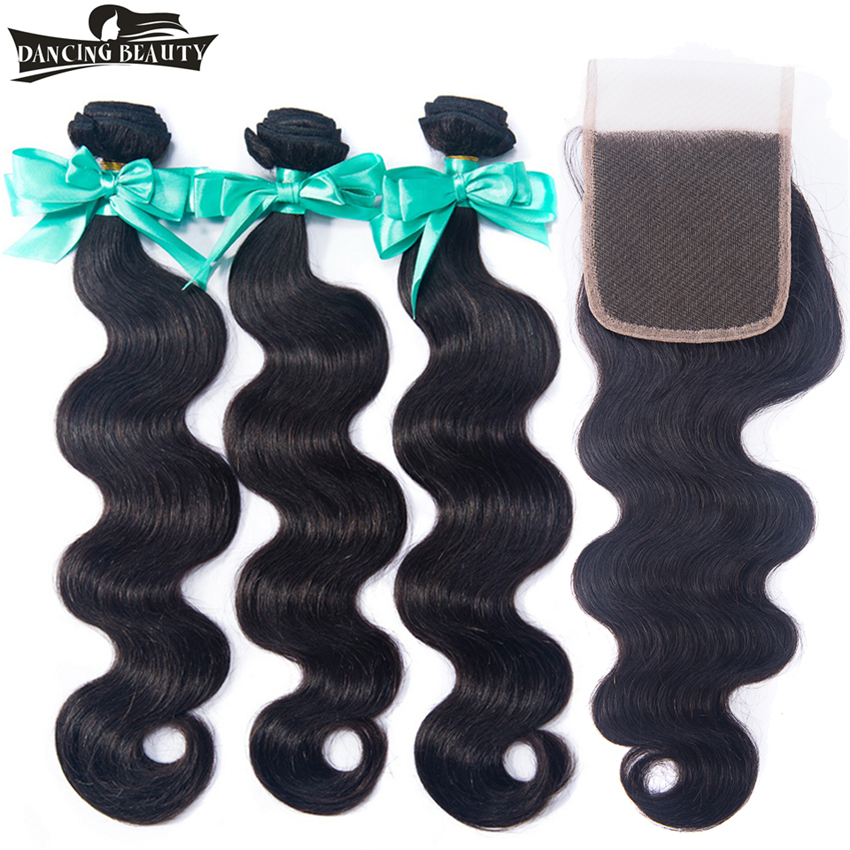DANCING BEAUTY Pre-colored Burmese Hair Wave 3 Bundles Natural Color Non Remy Human Hair Body Wave Bundles with Closure ...