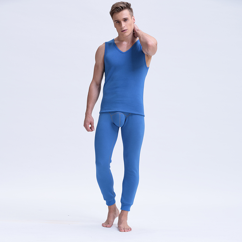 2018 New Mens V-Neck Long Johns 2 Piece Set Warm Thick Plus Velvet Winter Thermal Underwear Men Autumn Tank Top And Pants