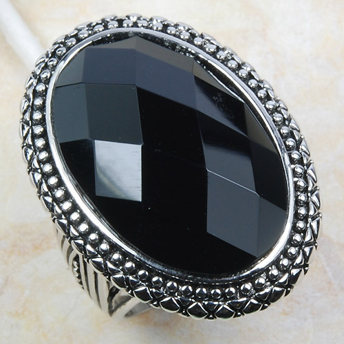 Huge Black Onyx Women 925 Sterling Silver Ring F800 Size 6 7 8 9 10