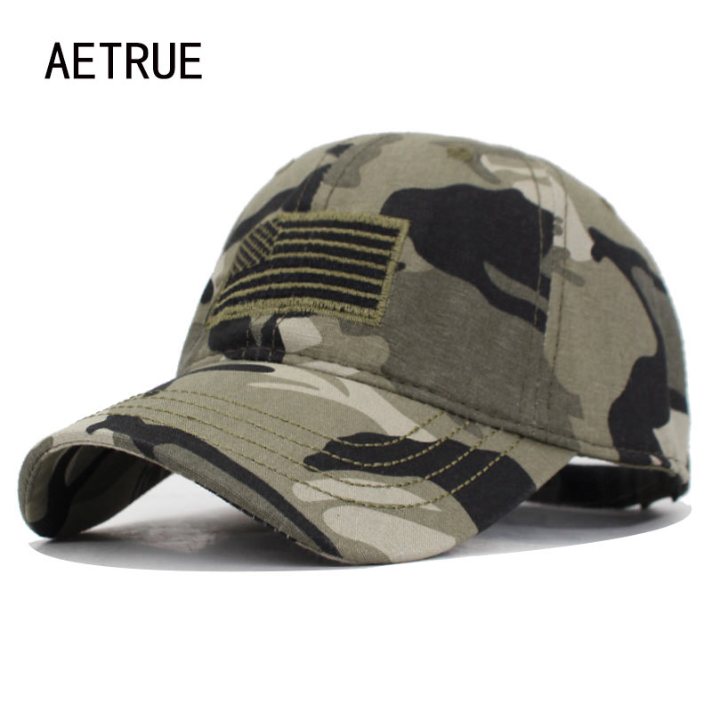 AETRUE High Quality USA Flag Camouflage Baseball Cap For Men Snapback Caps Army American Baseball Hat Bone Trucker Gorras Caps