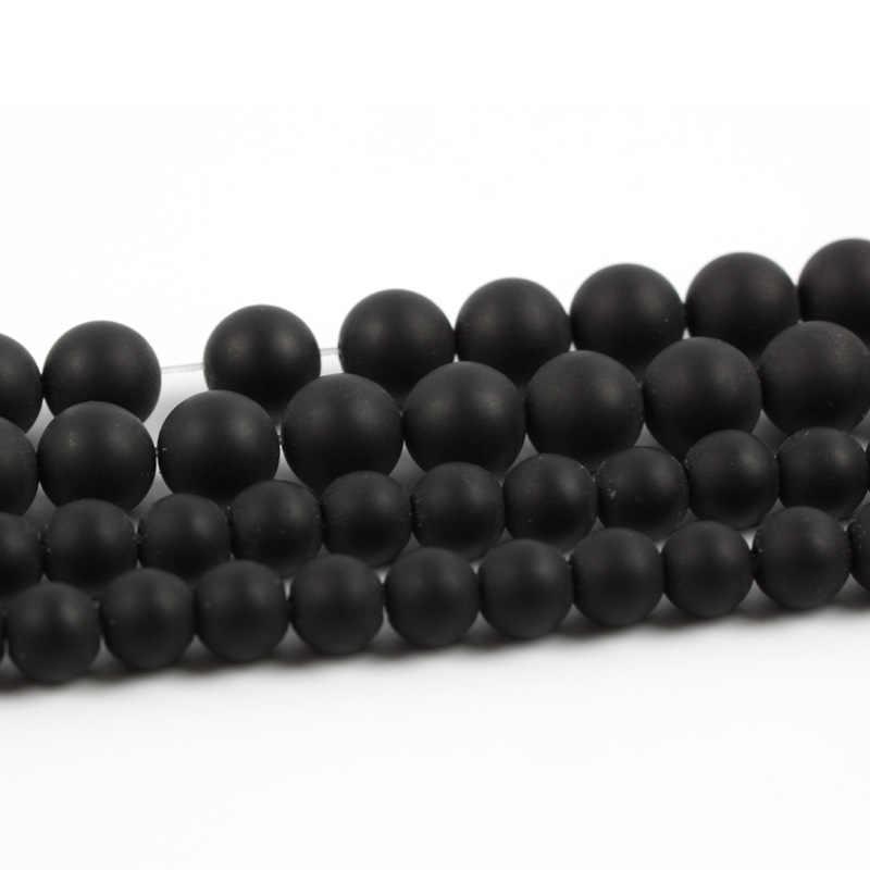เกรดหินธรรมชาติสีดำ Matt Onyx Agates รอบ Strand ลูกปัดแบบหลวมสำหรับเครื่องประดับ Diy สร้อยข้อมือ 4-12 มม. การจัดส่ง