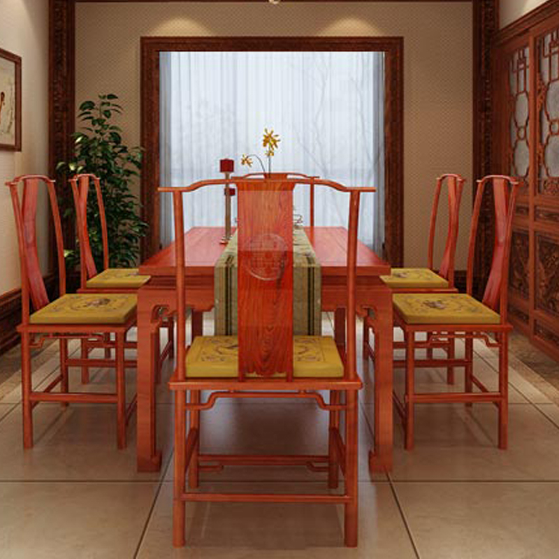 Rosewood Living Dining Room Table Set 1 6 Chairs Classical Solid Wood Home Furniture Annatto Office Long Rectangle Desk