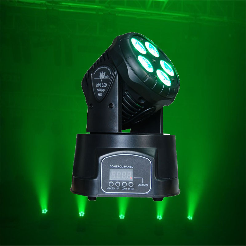 High Power Mini Wash Lamp 5x18W RGBWA UV 6 In1 LED Moving Head Wash Light DMX 5/14CH DJ Party Show Stage Lighting