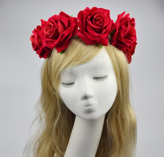 2017 Summer Flower Crown Red Rose Headband Women And Girls Vintage Big  Floral Hair Accessories Car-styling Hair Clip Garland 181176c2ccb