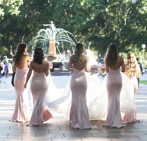 Image 2 - Pink Bridesmaid Dresses Mermaid Dress for Wedding Party Simple robe demoiselle dhonneur Long Bridesmaid Dress