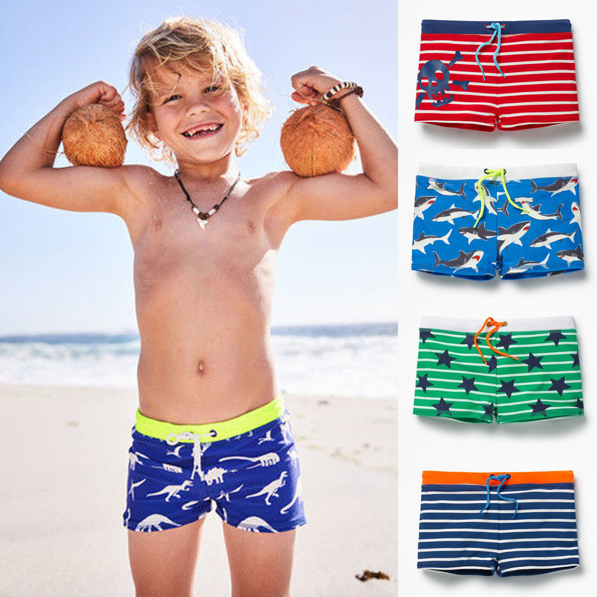 Swimming Shorts Bathing-Suit Cool Toddler Striped Beach Summer Boy Kid Star One-Piece title=