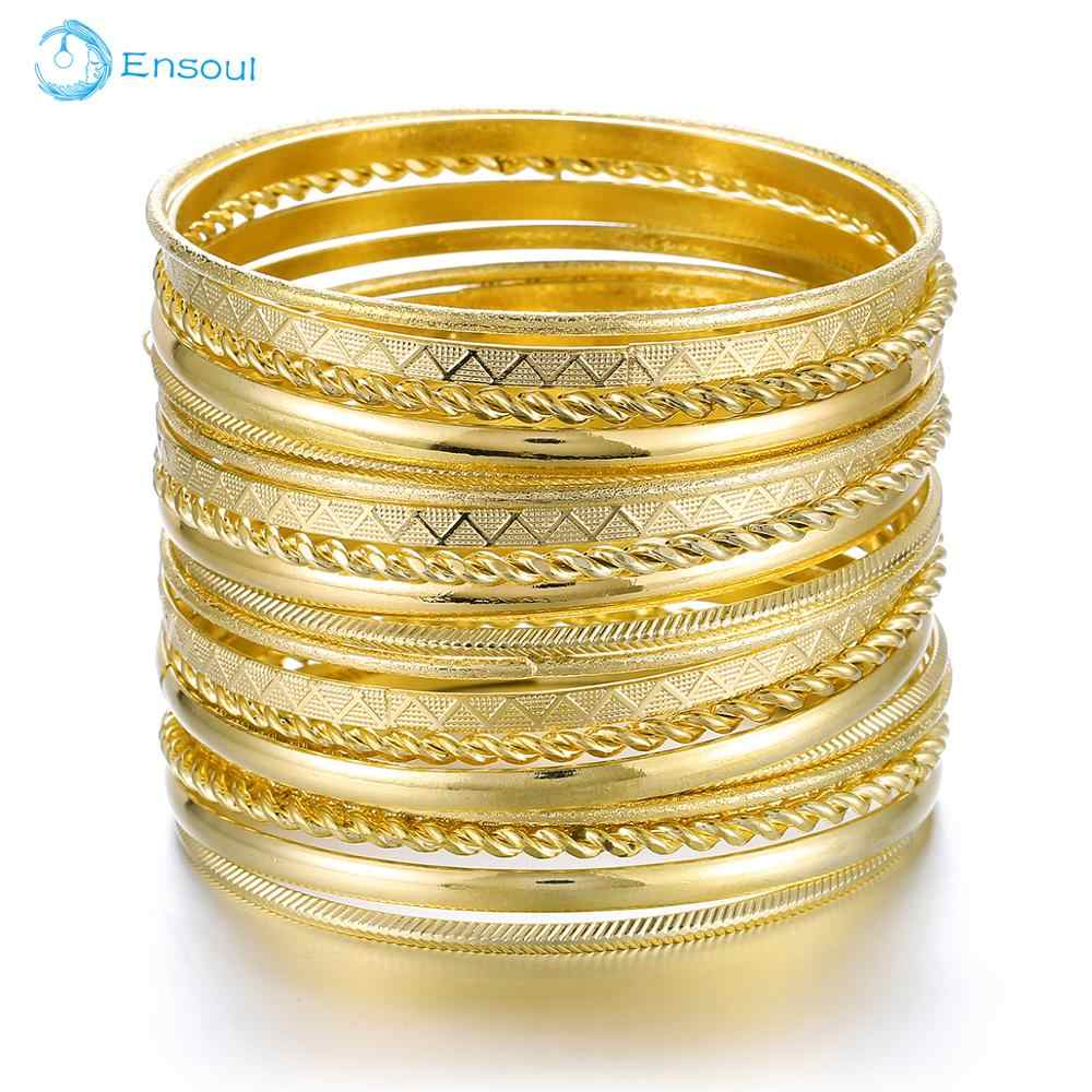 ENSOUL New Fashion Style 20 Pcs/Lot Charm Gold Stripe Bracelets & Bangles For Women Luxury Brand Femme Jewelry Men Bracelet Cuff
