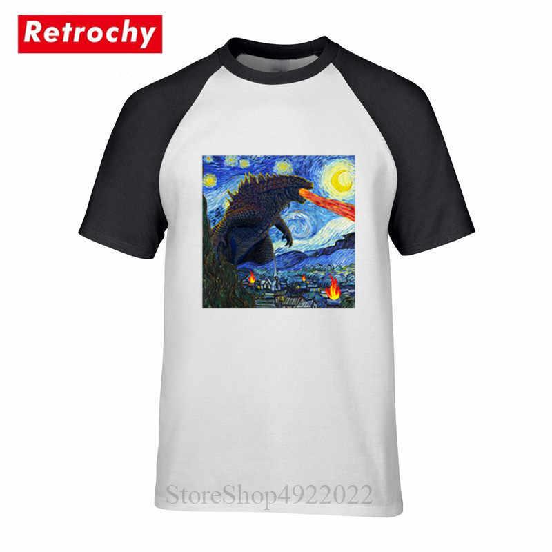 Diseño de acuarela Japón Streetwear kajuu Camiseta Hombre Geek pintado estilo de Van Gogh Tokyo Starry Monster camiseta Hip Hop ropa