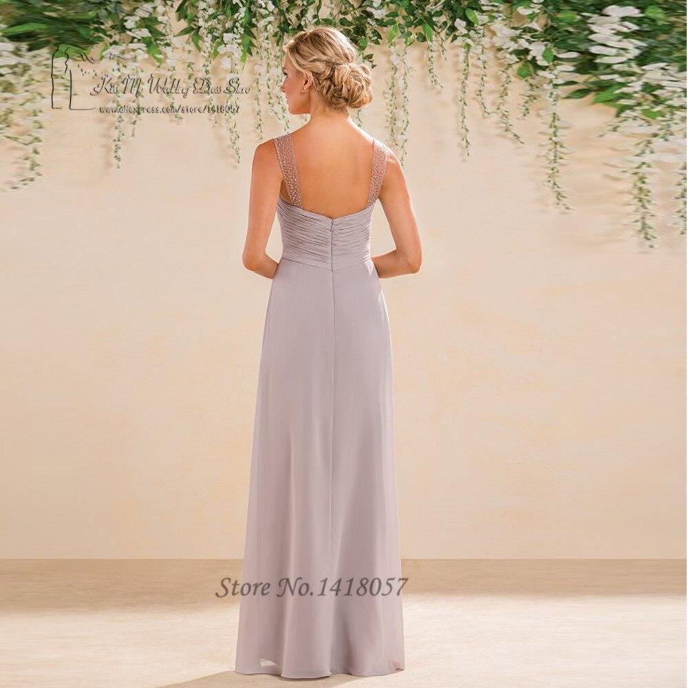 f3ebe1b5211 Light Gray Sexy Bridesmaid Dresses Long Beaded Split Chiffon Wedding Party  Dress Gowns Floor Length Vestido de Festa Longo-in Bridesmaid Dresses from  ...