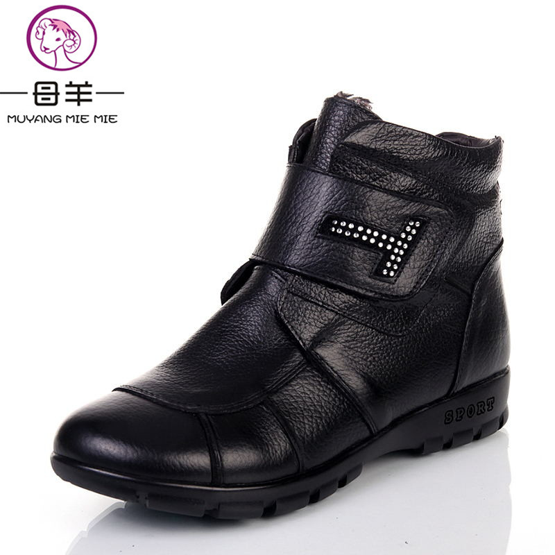 MUYANG Chinese Brand Women Genuine Leather Shoes Woman Cotton-padded Mother Women Shoes Genuine Snow Women Boots