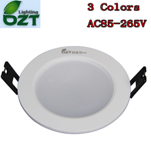 LED Downlight 3W 3 Colours Change Color White/Warm White/Yellow Down Lamp Ceiling light Spotlight Indoor Home Lighting