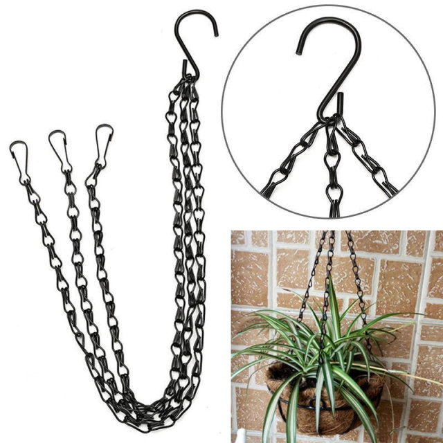 Black Flower Plant Pot Basket Holder Hanging Chain With S Shape Hooks For  Home Garden