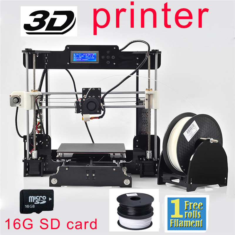 LCD Diy 3d Metal Printer, Large Printing Size 3d-Printer Reprap Prusa i3 3d Printer Kit With 1roll Filament 8GB SD Card