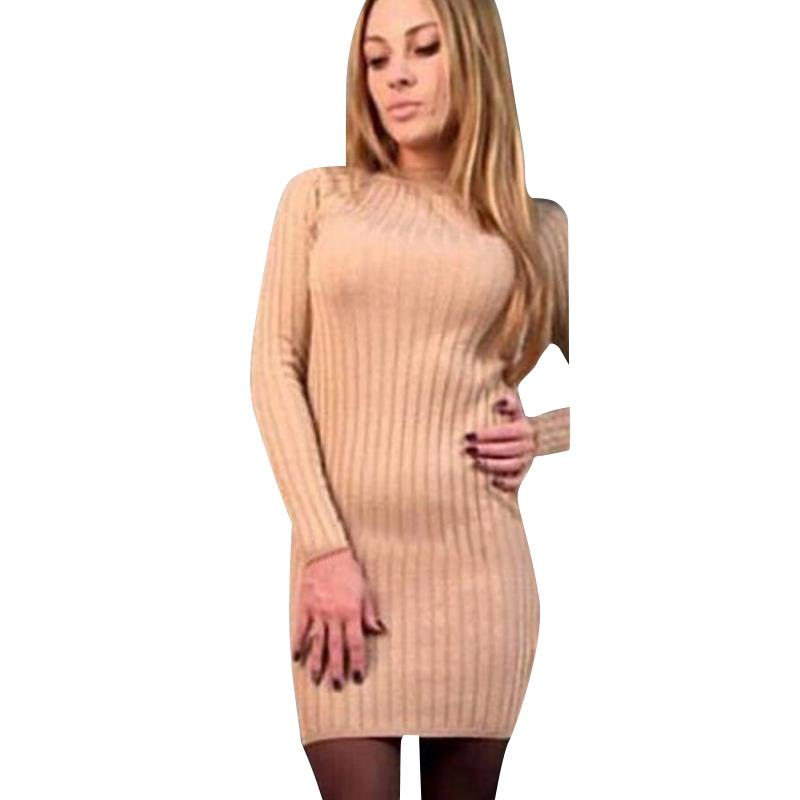 Women Knitted Sweater Dress Autumn Winter Long Sleeves Slim Shinny Bodycon Dress Casual Lady Office Dress Female Veditos WS4025O