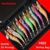 10PCS with Shrimp Bag 13.5cm/21g 3D Printing 3.5# Hook Luminous Squid Jig Fishing Wood Shrimp Lure Squid Cuttlefish Jigs Lures