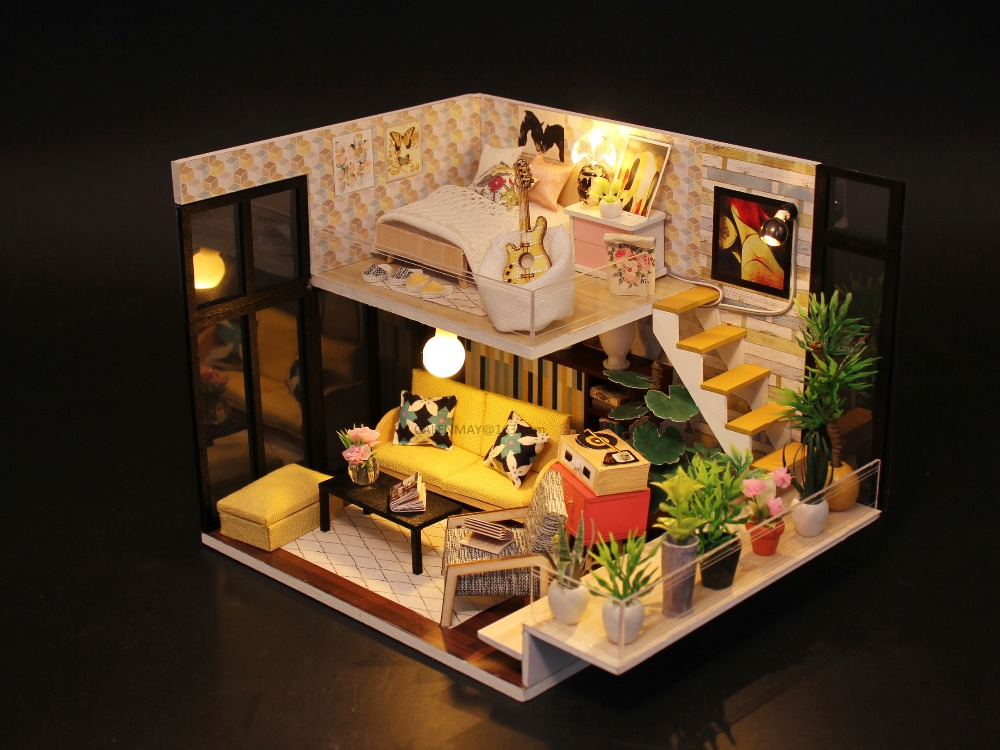 Hearty Diy 3d Cynthias Holiday Building Dollhouse Miniature Assemble Puzzl Kits With Funitures Toys For Mm/gg Festival Handmade Gifts Model Building