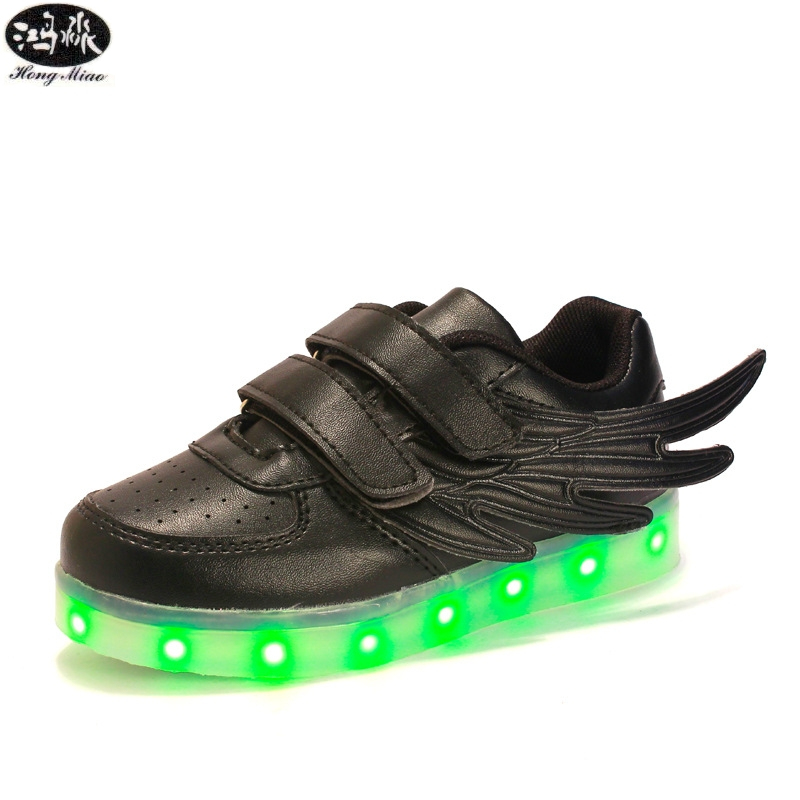 New Led Glowing Sneakers Kids Shoes 7 Colors USB Charge Luminous Sole With Cute Wings Sneakers Light Up  Children Shoes luminous glowing sneakers children kids led shoes breathable zapatos shining children usb charging kids led shoes 50z0005