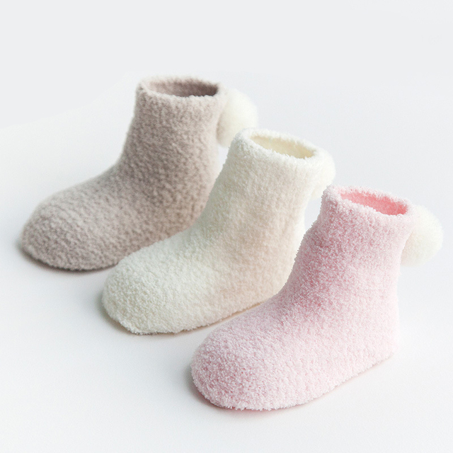 30e176190f696 US $7.07 19% OFF|3 Pairs/Lot 2017 Autumn Winter Baby Solid Socks Cotton  Ball Cute Baby Socks Children Tube Kids Warm Boys Girls Socks For 0  3Year-in ...