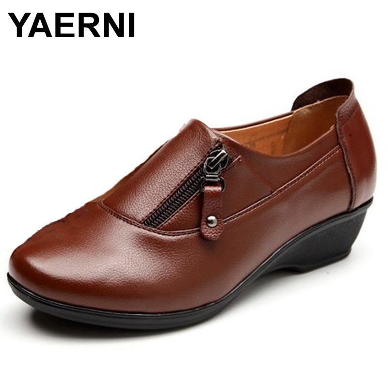 все цены на YAERNI Spring Fashion leather women shoes mother slope soft bottom anti-slip comfortable middle aged casual shoes Plus Size42 43