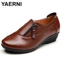 YAERNI Spring Fashion Leather Women Shoes Mother Slope Soft Bottom Anti Slip Comfortable Middle Aged Casual