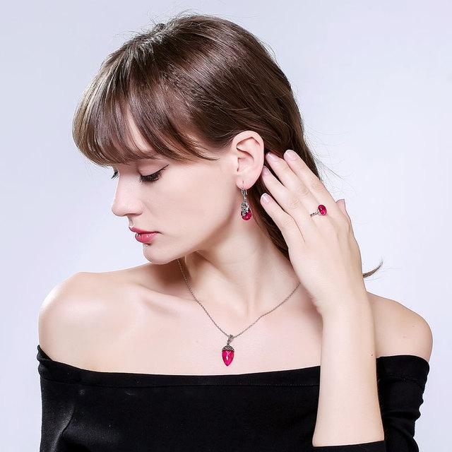 EDI Gemstone 100% 925 Sterling Silver Garnet Dangle Earrings Vintage 3.9*1.3CM Agate Chalcedony Flower Earrings For Women