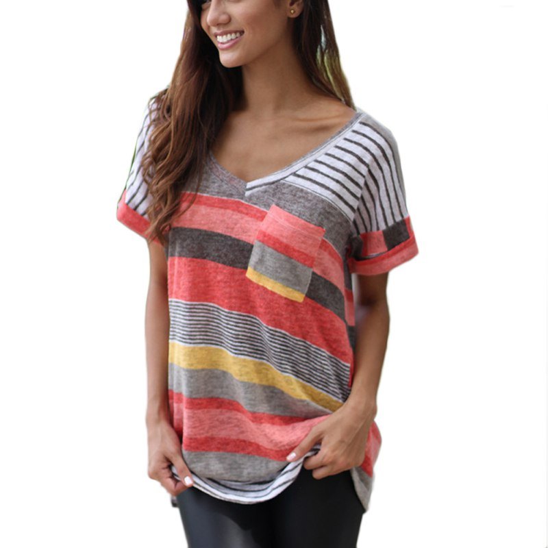 Hot Sale 2019 Women Fashion Summer O-Neck Casual Beach Short Sleeve T-Shirt Printed Tops Tee Shirt Femme Pocket Striped Tee