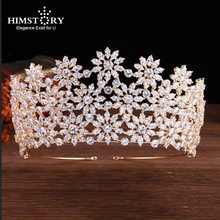 Himstory Shinny Floral Wedding Cubic Zircon Tiara Crown Bridal CZ  Queen Princess Pageant Party Headpiece Hair Accessories