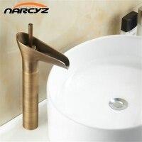 Basin Faucets Waterfall Bathroom Antique Faucet Single Handle Vanity Sink Mixer Tap Deck Mounted Bathroom Torneiras 8007