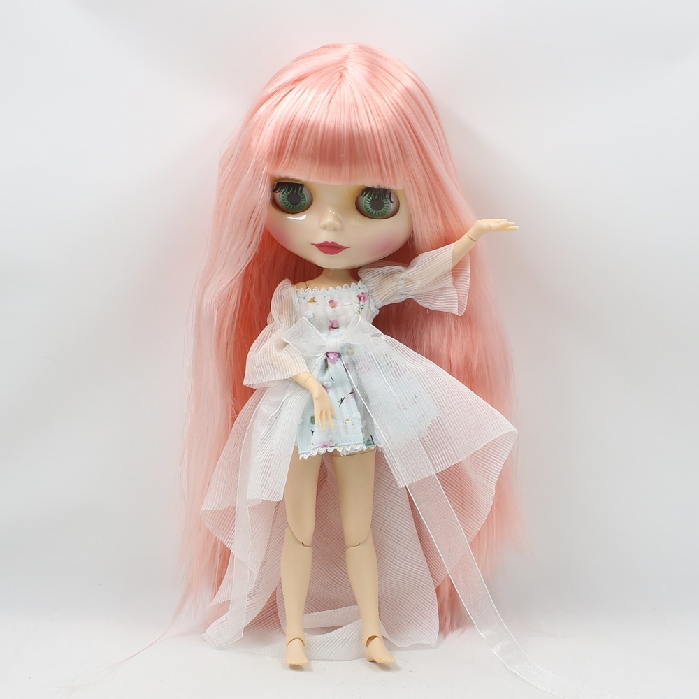 Neo Blythe Doll with Pink Hair, White Skin, Shiny Face & Jointed Body 1