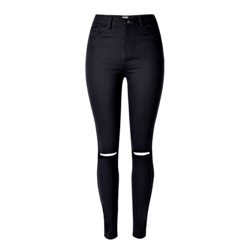 2017 New Women Black Cut High Waist Jeans Taille Haute Femme Plus Size Black Ripped Jeans for Women Sexy Jeans Pants 25 women high waist jeans plus size dark women skinny ripped jeans femme jeggings sexy pantalones tejanos mujer boot cut jeans