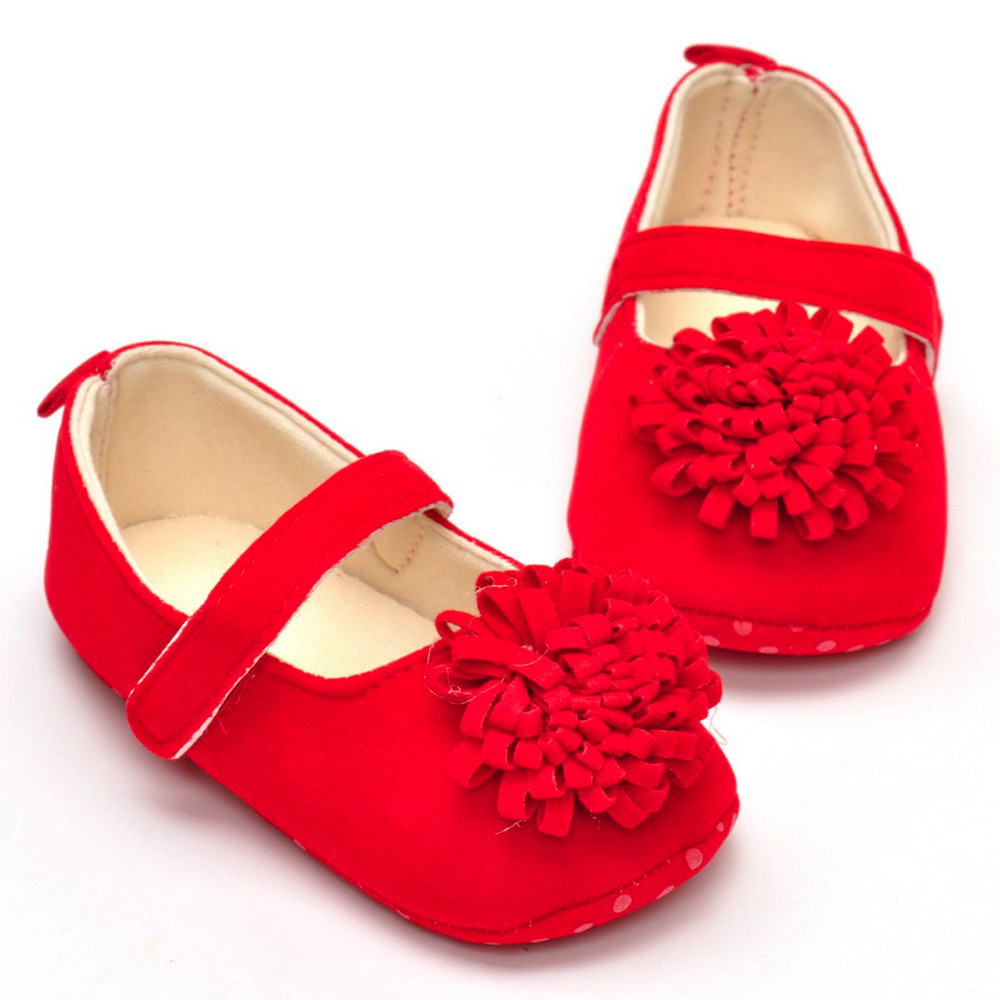 2017 Newborn Infant Baby Girls Cute Flock Crib Shoes Lovely Girls Cotton Bottom Soft Sole Anti-slip Solid Red Flower Sneakers