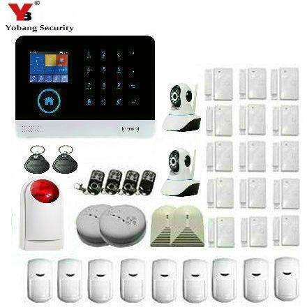 Yobang Security WIFI GSM Home Security Alarm System Remote Control English Russian Spanish German French Polis Door Sensor polis