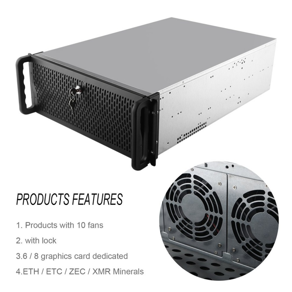 Open Air Mining Frame Rig Graphics Case GPU ATX Fit 6/8 Graphics Card Ethereum ETH ETC ZEC XMR 10 Fans With Lock