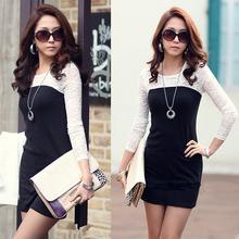 Splice Bodycon Slim Skinny Long Sleeve Office Lady Mini Dress