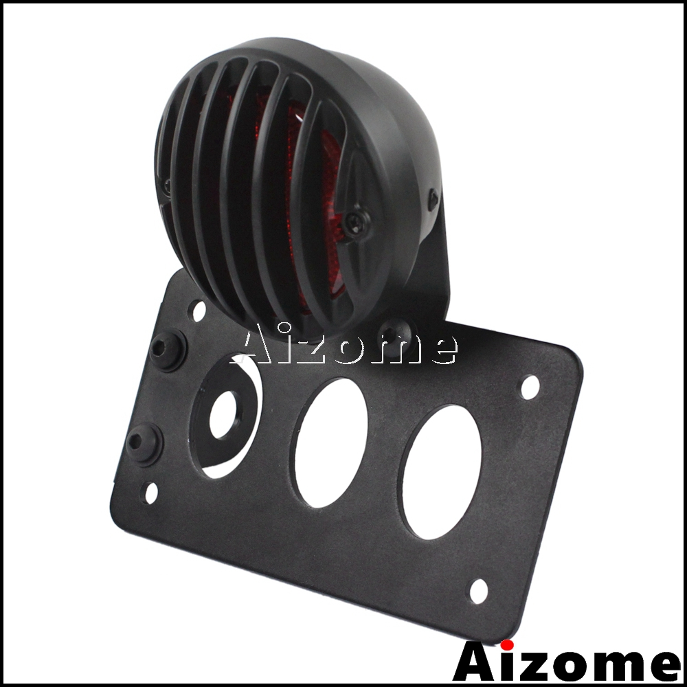 lowest price Motorcycle LED Taillight Side Mount Stop Light w  7inchx 4inch License Number Plate Rear Lights Bracket For Harley Sportster Bobber