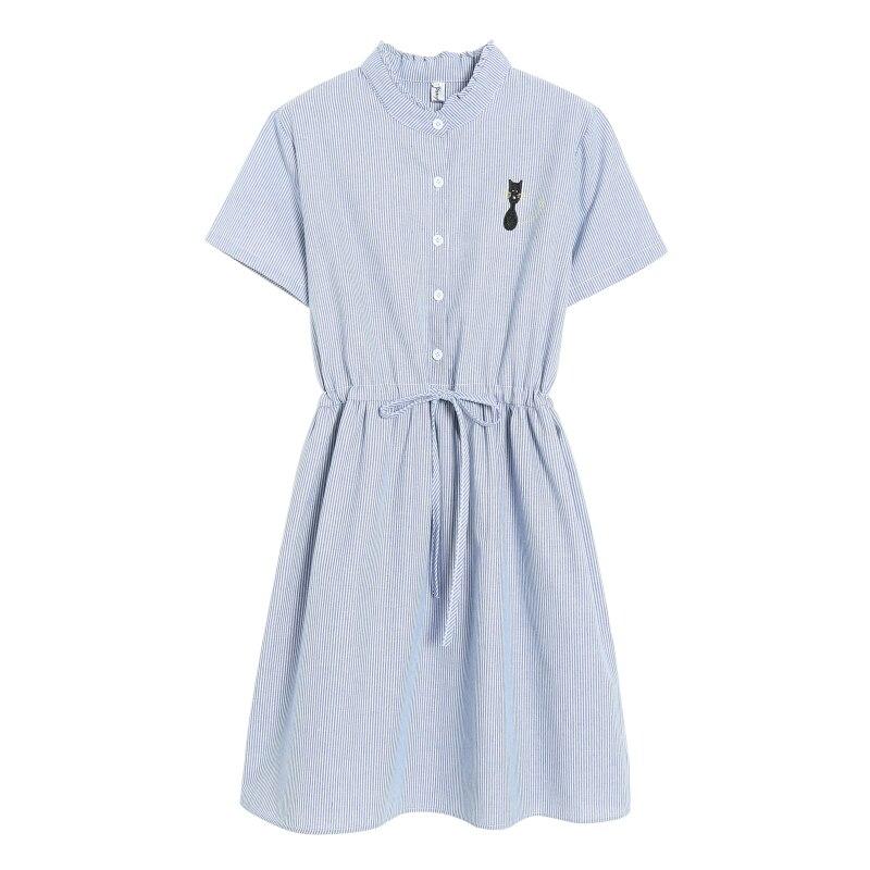 Mori Girl Summer Dress 2018 New Fashion Women Cat Embroidered Slim Waist Cotton Dresses Female Short Sleeve Striped Vestidos