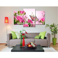 Decorate Flower butterfly triptych Diamond embroidery Painting rhinestones 3D picture cross stitch pattern Home decoration DP267
