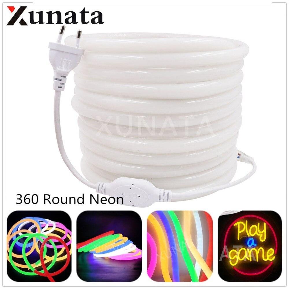 все цены на 360 Degree Round Neon Flex SMD 2835 Lighting Led Neon Light tube 220V Led Sign Board Ambilight 120Leds/m 5m 10m 20m 50m 100m онлайн