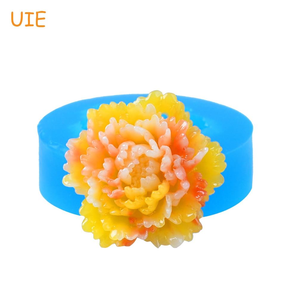 HYL302U 30.2 мм Пион цветок подвеска силиконовые формы-торт украшения, помадка, резинки паста, ювелирная смола, глазурь, Еда безопасный ...