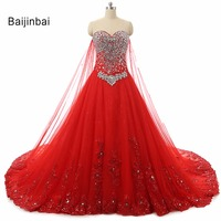 Luxury Crystal Beaded Red Vestidos De Novia Casamento Wedding Dresses 2016 New Real Sample Royal Princess