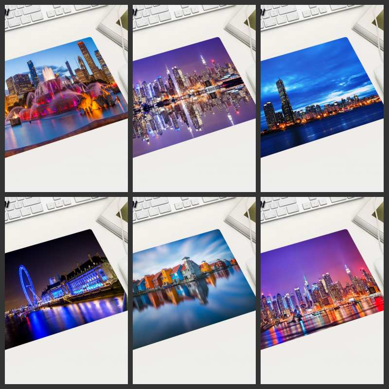 XGZ Specials Part Country Free Shipping City Night View Mouse Pad Small Size Rectangular Skid Suitable Laptop Office Desktop