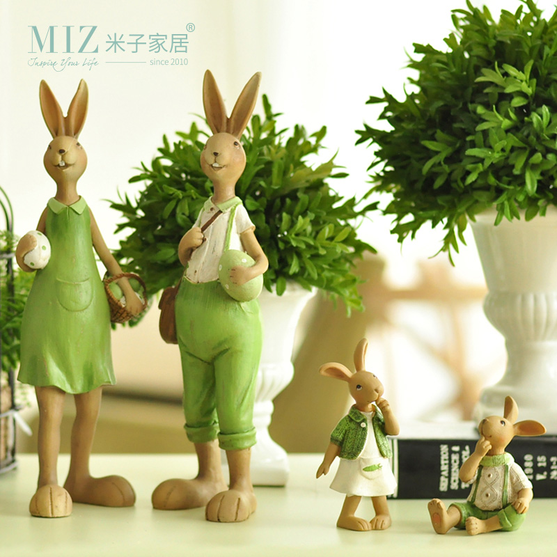 Miz Home1 Piece Home Green Cute Rabbit Family Christmas Friends Girl Resin Gift for Child Doll Micro Landscape Anime Figures