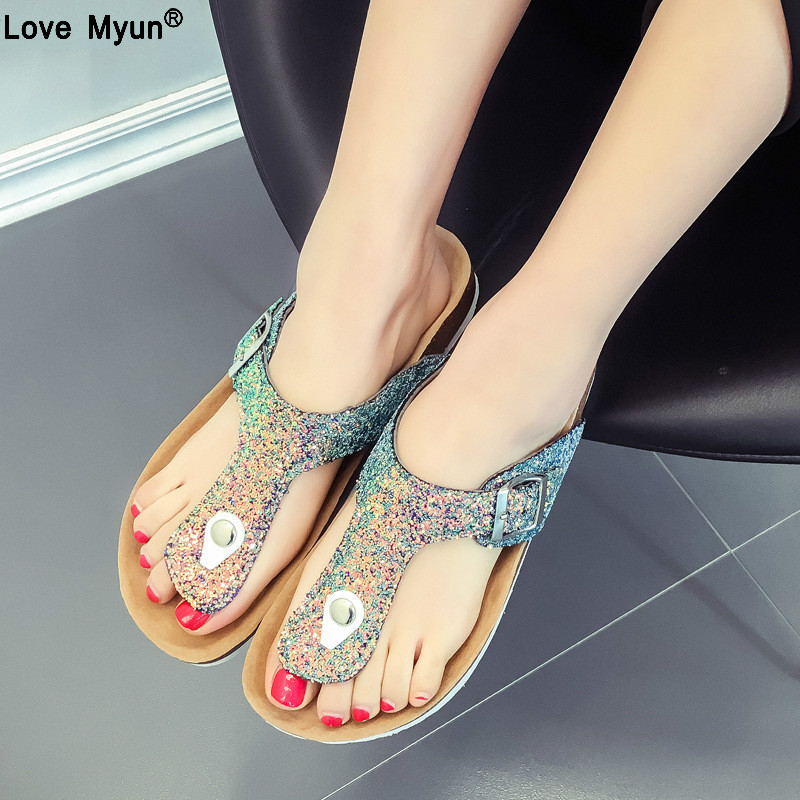 2019 New Summer Beach Cork Slippers Casual Double Buckle Clogs Slides Women Slip on Bling Sandals Shoe Plus Size 35-41 ghu892019 New Summer Beach Cork Slippers Casual Double Buckle Clogs Slides Women Slip on Bling Sandals Shoe Plus Size 35-41 ghu89