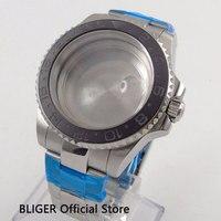 Mais novo 40mm bliger caixa de relógio inoxidável preto cerâmica moldura vidro safira apto para 2836 movimento relógio masculino capa