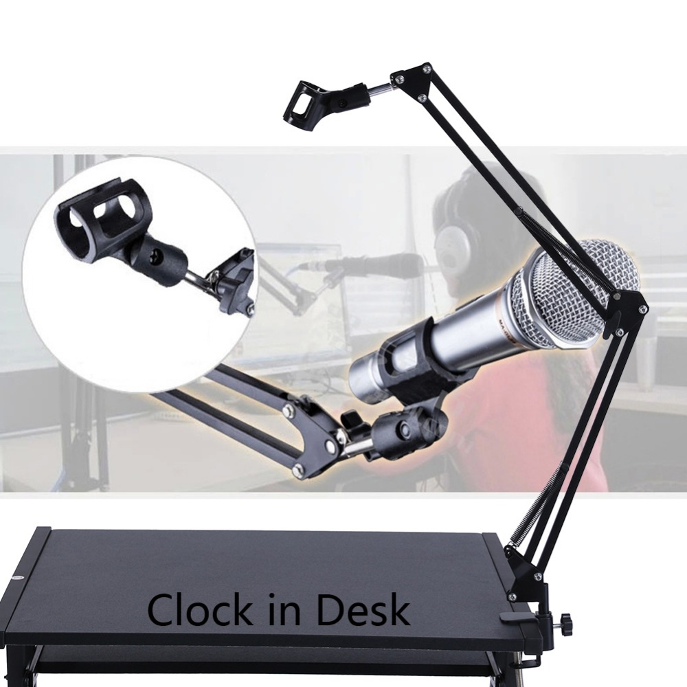 Heimelektronik Zubehör AnpassungsfäHig Einstellbar Schreibtisch Live-radio Aufnahmemikrofon Phone Faltbare Mic Stehen Inhaber Schwarz Dual Arm Halter Schreibtisch Mikrofon Stand Halten