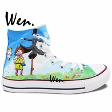 Wen Anime Boy Girl Sneakers Custom Miyazaki Hayao Howl's Moving Castle Hand Painted Shoes Design High Top Non Slip Canvas Shoes