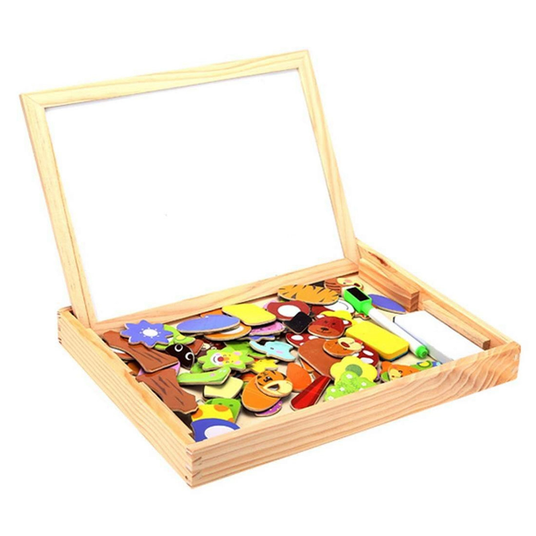 цены LCLL-Childrens Wood Puzzle Multifunction double sided magnetic Drawing board puzzle