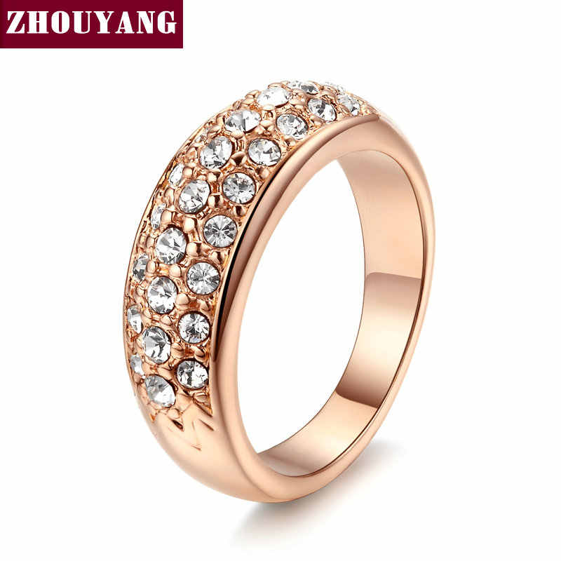 ZHOUYANG Wedding Ring For Women Elegant Cubic Zirconia Rose Gold Color Fashion Jewelry Austrian Crystals Gift ZYR061 ZYR109