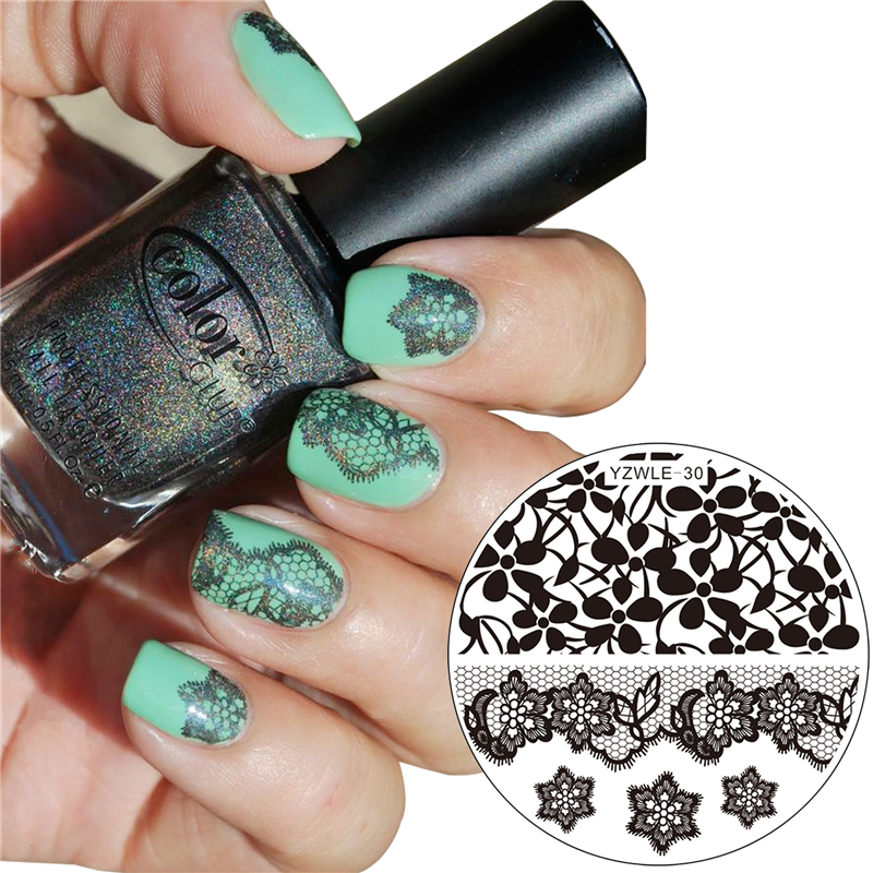 YZWLE 1 Pc Nails Beauty Stamping Plates Lace Flower Designs Image ...