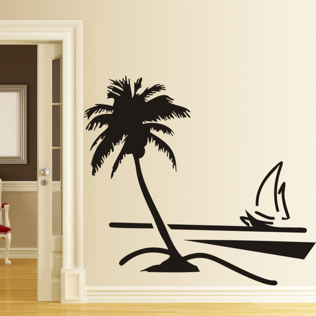Black Wall Decal Sticker Coconut Palm Tree Sailboat Vinyl Home Decor Living  Room Wallpaper For Bedroom